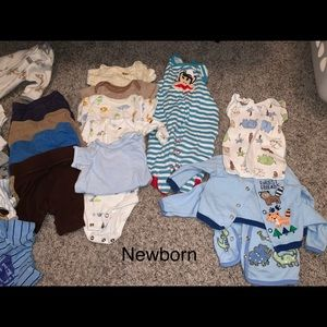 Bundle of baby boy clothes and items. Sizes NB-2T.